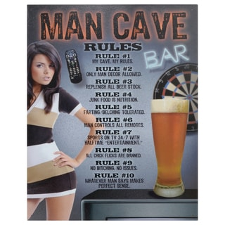 Vintage Metal Art 'Man Cave Rules' Decorative Tin Sign