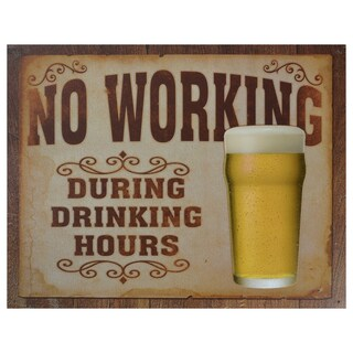 Vintage Metal Art 'No Working' Decorative Tin Sign