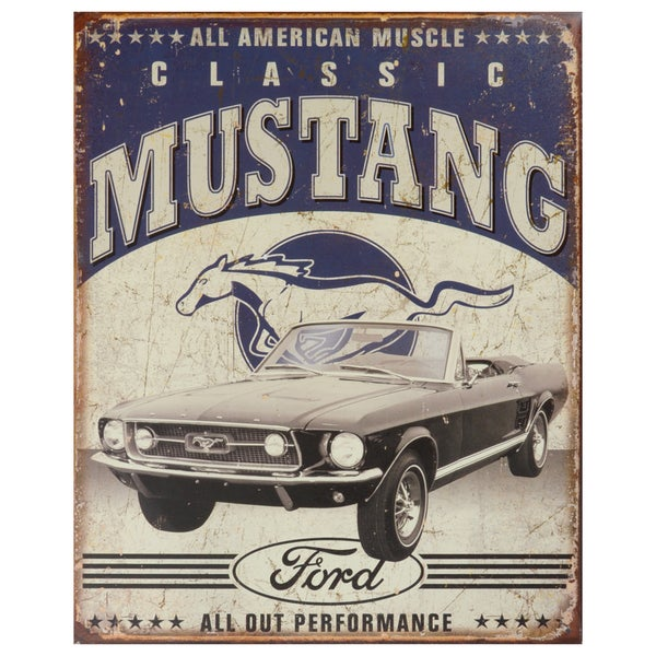 Vintage Metal Art 'Classic Mustang' Decorative Tin Sign