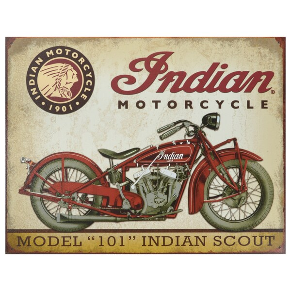 Vintage Metal Art 'Indian Scout Motorcycle' Decorative Tin Sign