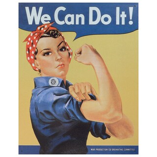 Vintage Metal Art 'Rosie the Riveter' Decorative Tin Sign