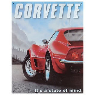 Vintage Metal Art 'Corvette' Decorative Tin Sign