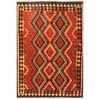 Herat Oriental Afghan Hand-woven Tribal Kilim Red/ Beige Wool Rug (4' x 5'8)