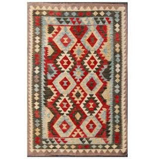 Herat Oriental Afghan Hand-woven Tribal Kilim Red/ Green Wool Rug (3'11 x 5'11)