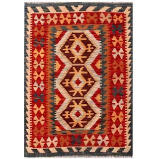 Herat Oriental Afghan Hand-woven Tribal Kilim Brown/ Red Wool Rug (3'5 x 4'8)