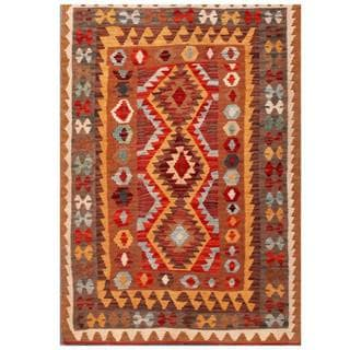 Herat Oriental Afghan Hand-woven Tribal Kilim Red/ Brown Wool Rug (3'5 x 5'1)