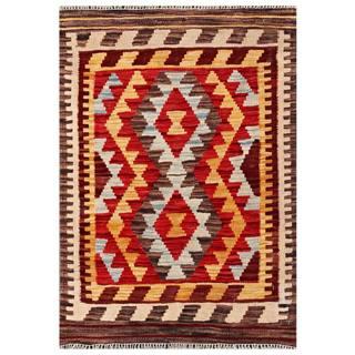 Herat Oriental Afghan Hand-woven Tribal Kilim Red/ Beige Wool Rug (2'2 x 3'2)