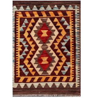 Herat Oriental Afghan Hand-woven Tribal Kilim Brown/ Blue Wool Rug (2'2 x 3')