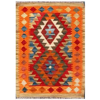 Herat Oriental Afghan Hand-woven Tribal Kilim Red/ Orange Wool Rug (2'2 x 2'11)