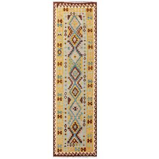 Herat Oriental Afghan Hand-woven Tribal Kilim Blue/ Tan Wool Rug (2'9 x 9'11)