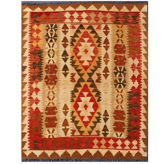 Herat Oriental Afghan Hand-woven Tribal Kilim Beige/ Red Wool Rug (3'2 x 3'10)