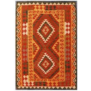 Herat Oriental Afghan Hand-woven Tribal Kilim Red/ Tan Wool Rug (3'6 x 4'9)