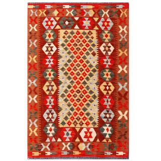 Herat Oriental Afghan Hand-woven Tribal Kilim Red/ Brown Wool Rug (3'5 x 5'3)