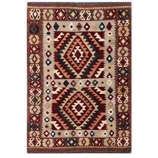 Herat Oriental Afghan Hand-woven Tribal Kilim Grey/ Brown Wool Rug (3'6 x 5'3)