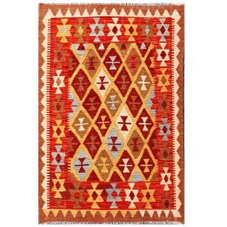 Herat Oriental Afghan Hand-woven Tribal Kilim Tan/ Red Wool Rug (3'5 x 5'1)