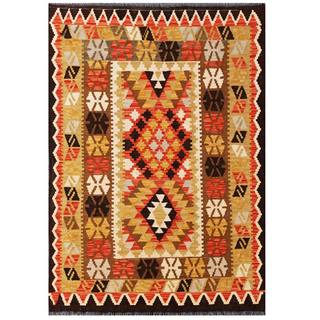 Herat Oriental Afghan Hand-woven Tribal Kilim Red/ Brown Wool Rug (3'5 x 5')