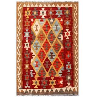 Herat Oriental Afghan Hand-woven Tribal Kilim Red/ Brown Wool Rug (3'3 x 5')