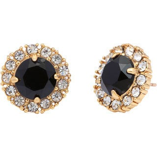 kate spade 'Secret Garden' Goldtone Jet Black and Clear Stud Earrings