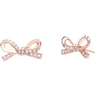 kate spade 14K Rose Gold Plated Clear Crystal Pave Bow Studs