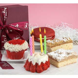 Dulcets Gourmet Happy Birthday Red Velvet Collection Gift Basket