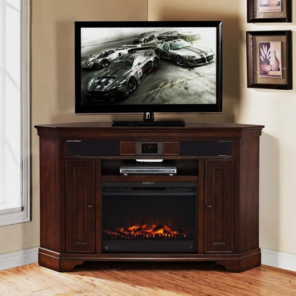 Mulberry Corner Tv Stand With Built In Surround Sound And Fireplace 16327776