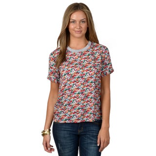 Hailey Jeans Co. Junior's Cuffed Short-sleeve Floral Print Top