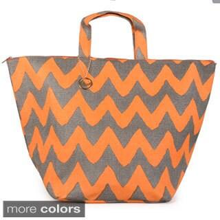Journee Collection Women's Oversize Chevron Print Beach Bag