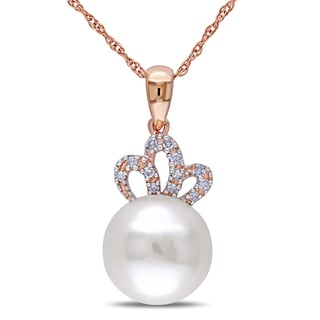 Miadora 10k Rose Gold White Cultured Freshwater Pearl and Diamond Accent Necklace (9.5-10 mm)