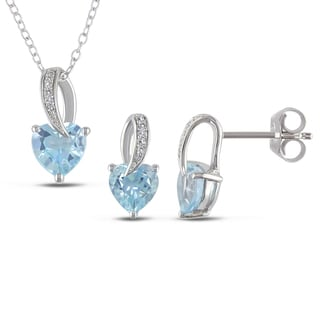 Miadora Silver 2-pc Set of Blue Topaz and Diamond Heart Necklace and Earrings