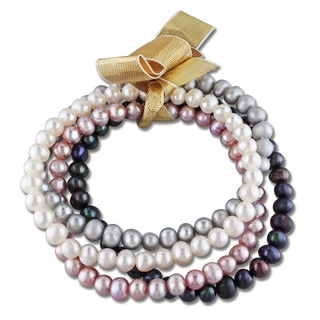 M by Miadora 4-pc Set of Multi-Color Cultured Freshwater Pearl Bracelets (5-5.5 mm)