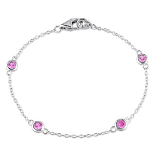 Miadora Sterling Silver Created Pink Sapphire Bracelet