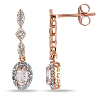 Miadora 10k Rose Gold Morganite and Diamond Accent Dangle Earrings