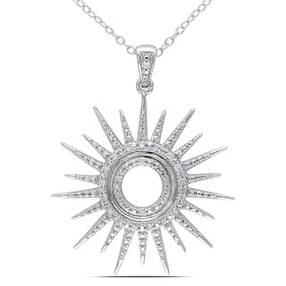 Haylee Jewels Sterling Silver 1/10ct TDW Diamond Sun Necklace (H-I, I2-I3)