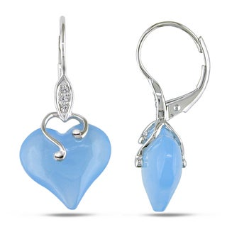Miadora 10k White Gold 10 3/5ct TGW Blue Chalcedony and Diamond Accent Heart Earrings