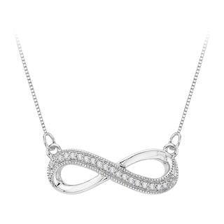 10k White Gold 1/10ct TDW Infinity Diamond Milgrain Pendant (J-K, I1-I2)