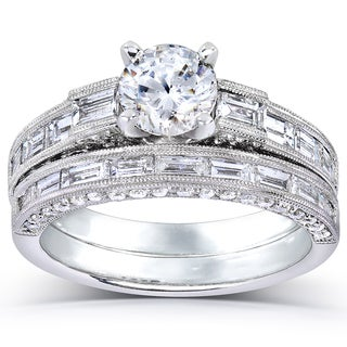 Annello 18k White Gold 2 1/3ct TDW Certified Diamond Bridal Set