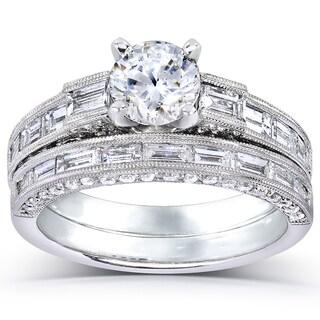 Annello 18k White Gold 2 1/3ct TDW Certified Diamond Bridal Set with Bonus Item