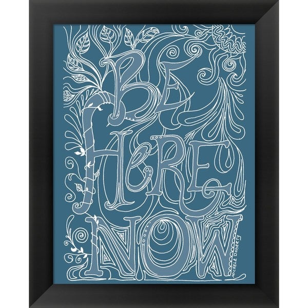 Green Girl Canvas 'Be Here Now' Framed Art