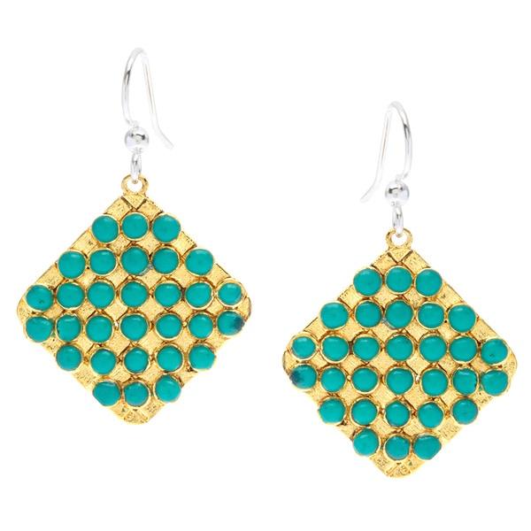 Biji Goldtone Aqua Bead Grid Dangle Earrings