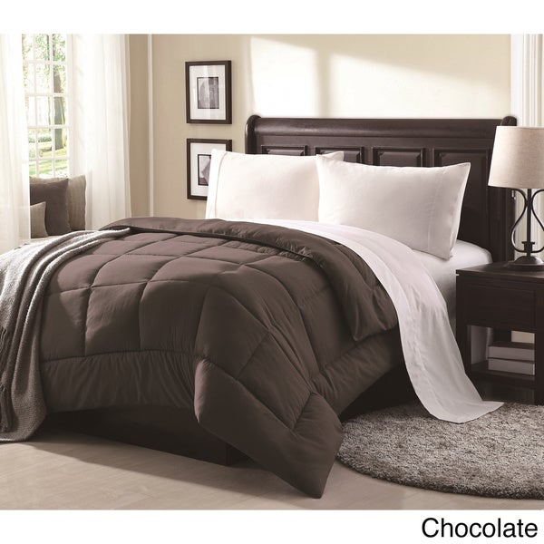 Lennox Overfilled Solid Color Microfiber Down Alternative Comforter