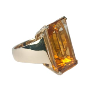 14k Yellow Gold 1/2ct TDW Diamond and Citrine Cocktail Ring