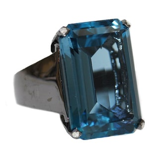 Sterling Silver 1/2ct TDW Diamond and London Blue Topaz Cocktail Ring