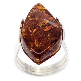 Sterling Silver Fancy-cut Amber Ring