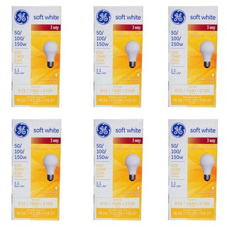 GE 97494 Soft White 3-way Bulb, 50/100/150-Watt (Pack of 6)