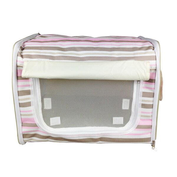 Pet Life Pink Stripe Soft Side Folding Pet Crate