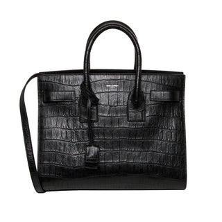 Saint Laurent Small Black Croc-embossed Sac De Jour Satchel