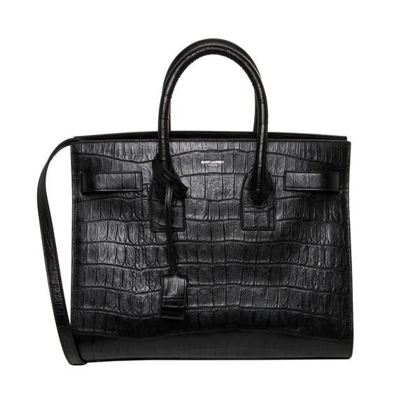 Classic Small Sac De Jour Bag In Black Crocodile Embossed