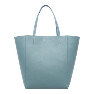 Celine Medium Textured Blue Leather Tote Bag