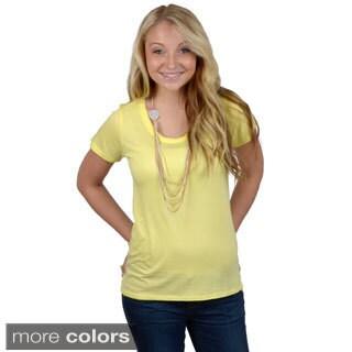 Hailey Jeans Co. Junior's Short-sleeve Scoop Neck Tee