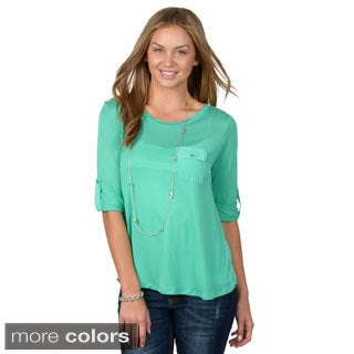 Hailey Jeans Co. Junior's Round Neck Pocket Top